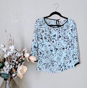 LOFT Light Blue Floral Print Blouse Sz XSP